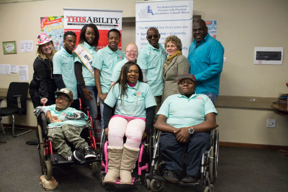 : Back, left to right: Casual Day project leader Vanessa du Plessis, Junior Mavuso, Lefa Manamela, Patrick Mashegwana, Olga Mokoena, Nenio Mbazima, Director for National Council for Persons with Physical Disabilities in SA Therina Wentzel, and editor of Thisability newspaper Simon Manda.  Front, left to right: Tujay Groenewald, Thuli Matlala and Khumo Moyane.