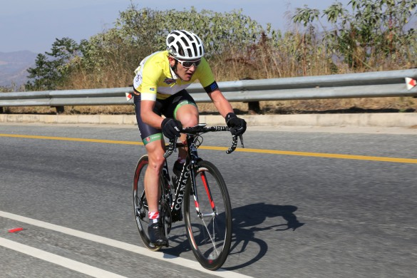 Bestmed Jock Tour winner Willie Smit of Team EuropcarSA en route to victory in the three-day road race near Nelspruit on Sunday. Photo: Rika Joubert/CycleNation