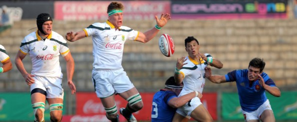 SA u/18 team pushing through the French defence on Tuesday afternoon