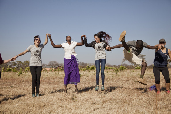 Getting electrified at a warm-up session before a big day of tree planting - Photo by Marike Herselman