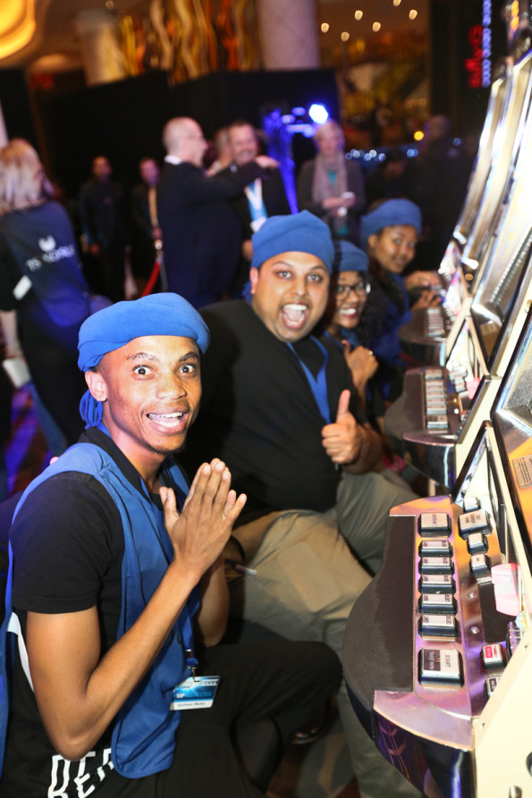 Team Blue's Kgothatso Madisa, Imran Kahn and Merushka Govender getting ready to  play Slots Factor