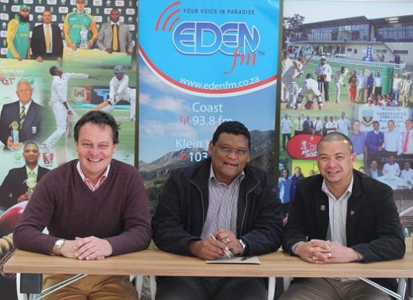 Present at the signing of the agreement were Albertus Kennedy (Chief Executive Officer; SWD Cricket), Morné Pietersen (Station Manager at EdenFM) and Rudy Claassen (Chairman of the Board of Directors of SWD Cricket)