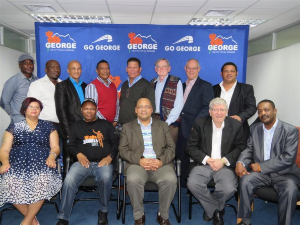From Left Cnclr Leholo (ANC), Deputy Mayor Maritz (DA), Cnclr Naik (DA), Cnclr Harris (Cope), Cnlr Hayward (GOBF), Cnclr Du Toit (ACDP), Cnlr Gericke (PBI). Front Row from left Cnclr Lombard (ICOSA), Ald Williams (ANC), Executive Mayor Standers (DA), Chief Whip De Swardt (DA) and Ald Petrus (ANC).