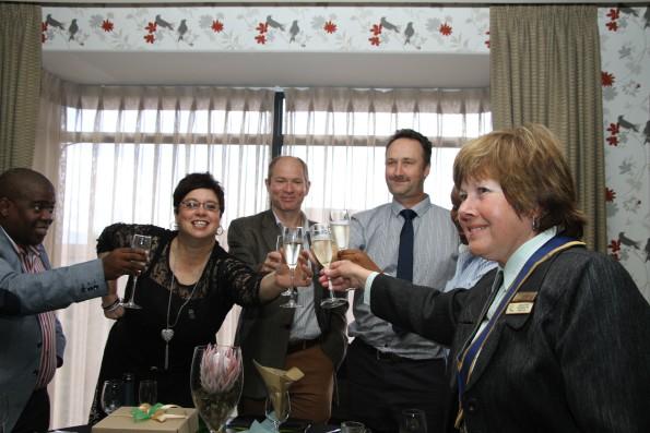 Toast to winners Andile Namntu, Jill Bunding-Venter, Dirk Roux, Andre Riley, Deputy Mayor Esme Edge