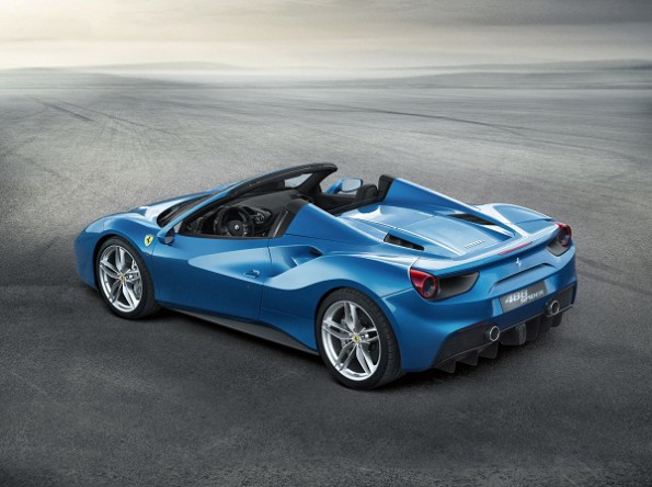 The 488 Spider: features the patented retractable hard top. Picture: Ferrari