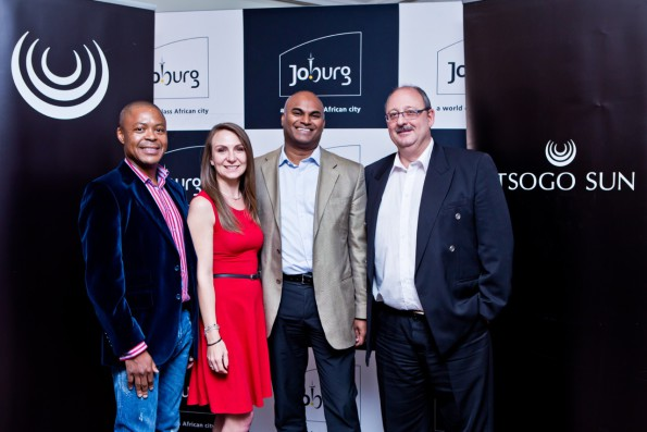 •Vusi Dlamini (Group HR Director, Tsogo Sun) Candy Tothill (GM: Corporate affairs, Tsogo Sun) Ravi Naidoo (Executive Director, Department of Economic Development, City of Joburg) and (Ed Manolas, Group Procurement Manager, Tsogo Sun).  Picture taken at the Tsogo Sun Entrepreneurs competitive Supplier-Buyer Matchmaking session held at Gold Reef City Theme Park Hotel.