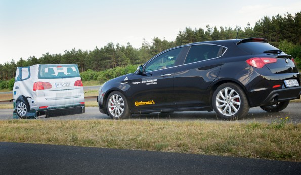 Testing time: Making sure the emergency braking system (EBS) works. Picture: Quickpic