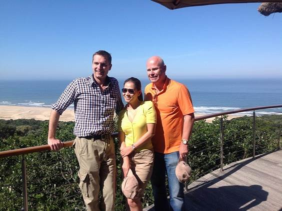 Paul Gardiner with Thu Minh and her husband, Otto, at Oceana Beach and Wildlife Reserve in South Africa's Eastern Cape, April 2014