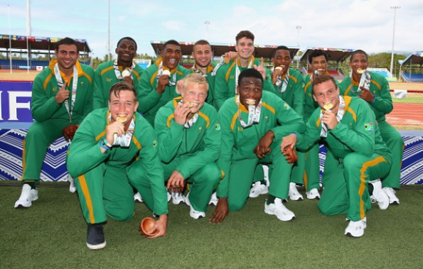 The victorious SA Sevens team. Photo: Mark Kolbe/Getty Images