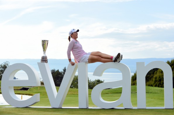 Lydia Ko of New Zeland poses with the Evian Championship trophy during the final round of LPGA Evian Championship 2015, day 7, at Evian Resort Golf Club, in Evian-Les-Bains, France, on September 13, 2015. Photo Philippe Millereau / KMSP / DPPI