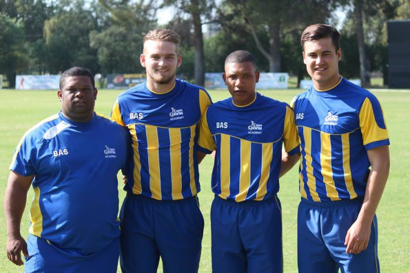 SWD representative for the Cobra's at the Cricket South Africa Franchise Academies tournament in Oudtshoorn are Andre du Plessis (coach), Coenie Nel, Otneill Baartman and Hanno Kotze