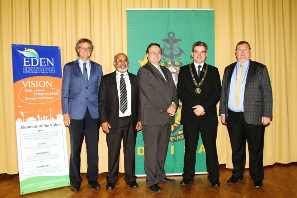 During the Conference, are FLTR:  Prof. Dr Jakob Rhyner, Vice Rector of the United Nations University, Eden's Acting Executive Mayor, Cllr Lionel Esau, Mr Anton Bredell, Western Cape MEC for Local Government, Traditional Affairs adn Development Planning, Mr Ken Terry, Head of the National Disaster Management Centre and Dr Johan Minnie, President of DMISA.