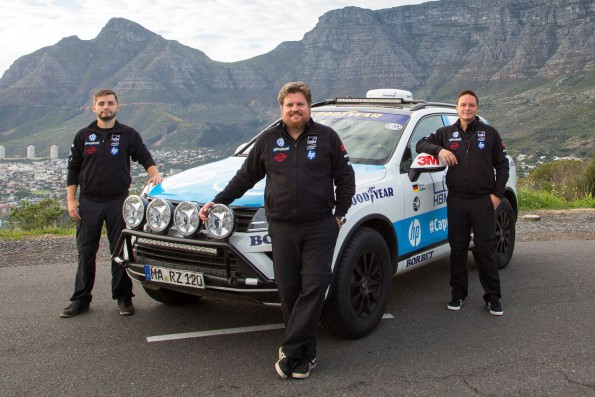 Marius Biela, photographer and cameraman, Rainer Zietlow, team leader and Sam Roach, blogger for  Touareg CapetoCape2: ready for the record-breaking attempt. Picture: Quickpic