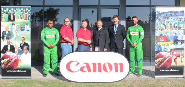 Present at the announcement of Canon as team sponsor for the SWD team for the upcoming Africa T20 Cup were: Deon Smith (Head Coach of the SWD team), Gielie Marais (Business Consultant Canon SWD), Marcel de Ridder (Business Director Canon SWD),  Rudi Claassen (President, SWD), Albertus Kennedy (CEO SWD Cricket) and Waldo Lategan (Captain of SWD team)