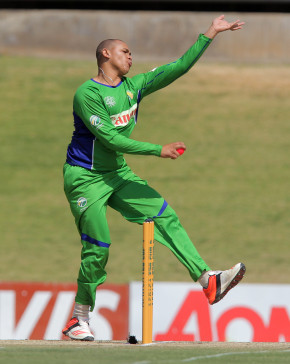 Marcello Piedt bowling for SWD during the 2015 Africa T-20 Cup match between Kenya and South Western Districts at Mangaung Oval on September 27, 2015 in Bloemfontein, South Africa. (Photo by Petri Oeschger/Gallo Images)