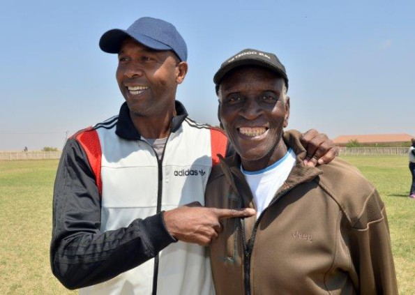 Lucas Radebe with legendary coach Terror Sephooa