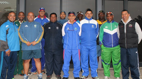 From the left are:  Paul Adams, Faiek Davids (coach of the Western Province Provincial team), Clinton du Preez (Amateur Manager Western Province Cricket), Lindsay O'Malley (Administrator; Western Province Cricket), André du Plessis (High Performance & Academy Coach; SWD), Dieter Swanepoel (Fitness and Conditioning Coach; Western Province), Omar Henry (Western Cape Academy coach), Nataniel Tsolo (Boland Academy coach), Graham October (Youth Talent Scout;  Western Cape Cricket), Geman Adams (Boland Academy coach), Deon Smith (Head Coach;  SWD Cricket) and Salieg Nackardien (High Performance Manager;  Western Cape Cricket)