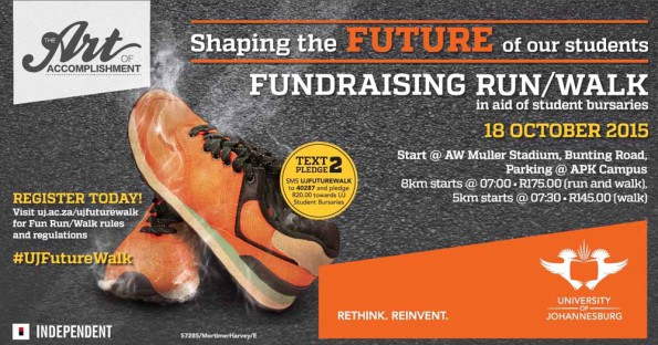 The University of Johannesburg will host the UJ Future Walk – comprising a 5km walk and 8km fun run – at the Bunting Road Campus on October 18. The event aims to raise R3 million towards bursaries for academically deserving but financially needy students. Photo: Supplied