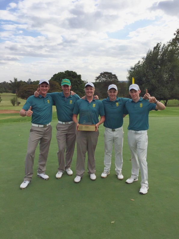 Team South Africa at the driving range during All Africa Golf Team Championships; credit SAGA