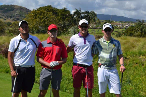 Jason Smith from South Africa (far right) with Ludovic Bax, Phil Minkley and one other from Mauritius; credit MGF