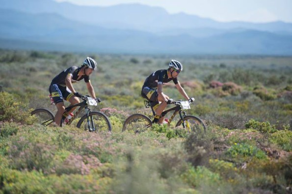 Philip Buys (left) and Arno du Toit of SCOTT Factory Racing LCB 2 on their way to winning Stage 6 of the Cape Pioneer Trek from Calitzdorp to Oudtshoorn, South Africa.  Photo credit: Zoon Cronje/Nikon