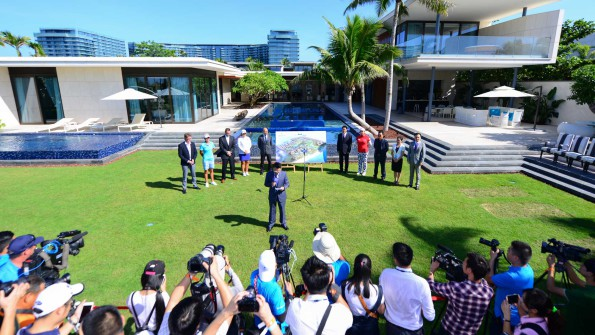An opening ceremony with Lee-Anne Pace, Inbee Park and Shanshan Feng prior to the start of the Blue Bay LPGA