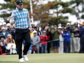 International team member Branden Grace of the South Africa, celebrates on the fourteen green during the third day of four-ball matches. Jeon Heon-Kyun, EPA
