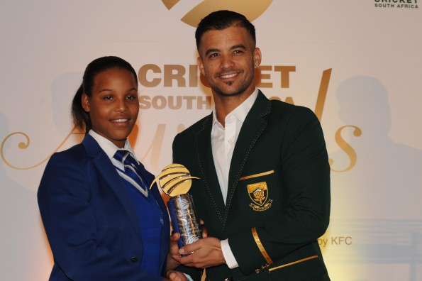 CSA Girls U19 Player of the Tournament, Micaela Andrews receives her award from JP Duminy during the CSA Golf Day and Breakfast Awards at Killarney Country Club on June 03, 2015 in Johannesburg, South Africa. (Photo by Lee Warren/Gallo Images