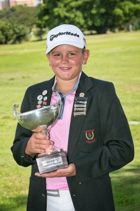 Ekurhuleni's Casey Jarvis from State Mines Golf Club lifted the Individual title in the Nomads SA Under-13 Championship at Royal Durban Golf Club; credit Stella Nova Studio