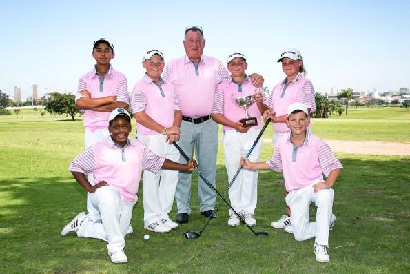 Ekurhuleni successfully defended their Nomads SA Under-13 Championship title at Royal Durban Golf Club; credit Stella Nova Studio. LTR back - Yurav Premlall, JW Blomerus, manager Jack Turton, Casey Jarvis and Kiera Floyd LTR Front - Zamokuhle Nxasana and Christopher Bagnall