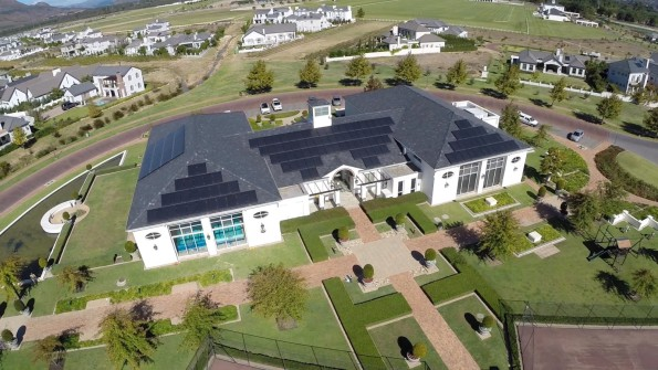 Aerial view of the solar plant at Val de Vie Estate in the Cape Winelands
