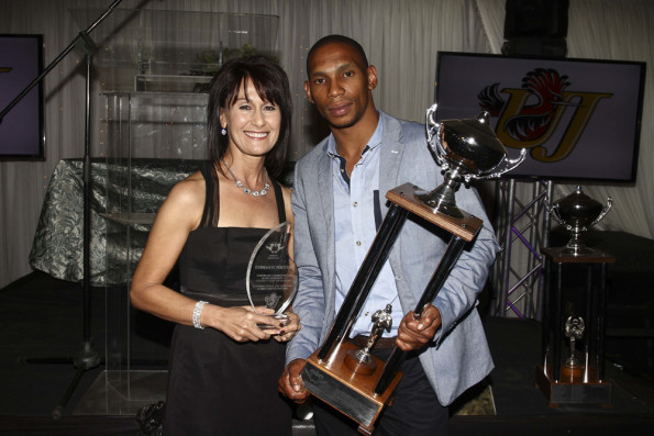Commonwealth Games long jump silver medallist Zarck Visser (right) was named the University of Johannesburg's Sportsman of the Year for a third year in a row at the UJ Sports Awards on Thursday night. He is pictured here with coach Emmarie Fouché at last year's awards. Photo: Eon Botha
