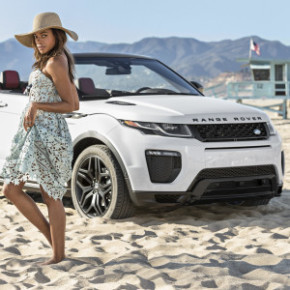 Naomie Harris aka Moneypenny admires the curves of Land Rover's Evoque convertible. Picture: Land Rover