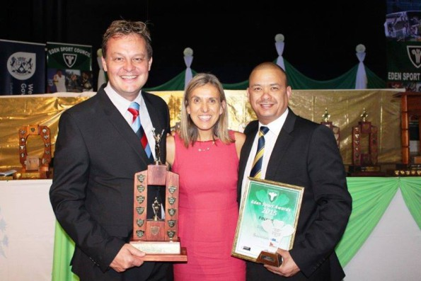 Albertus Kennedy (left), the Chief Executive Officer of SWD Cricket and the President of the Board, Rudy Claassen together with guest speaker Elana Meyer – a former silver medal winner at the 1992 Barcelona Olympic Games – at the Eden Sport Awards function.  SWD Cricket received the award as federation of the year