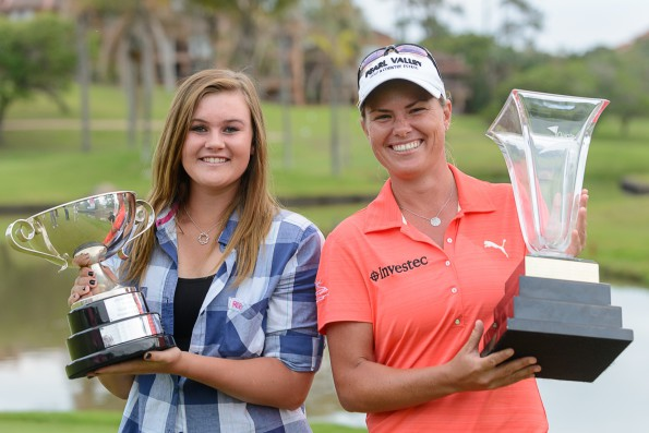 SA Women's Open defending champion Lee-Anne Pace and 2014 joint leading amateur winner, Shawnelle de Lange; credit Justin Klusener