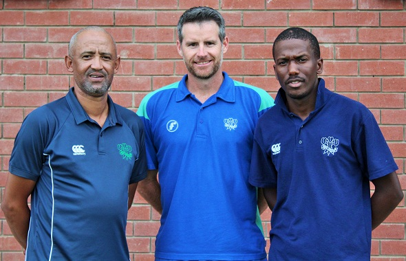 Eric Jacobs (left) and Siya Nkosana (right) are with Garry Hampson (Coaching Manager SWD Cricket)
