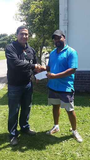 Shaun Harmse, is handing-over the sponsorship to Mr John Komanisi – a member of Thembalethu Cricket Club