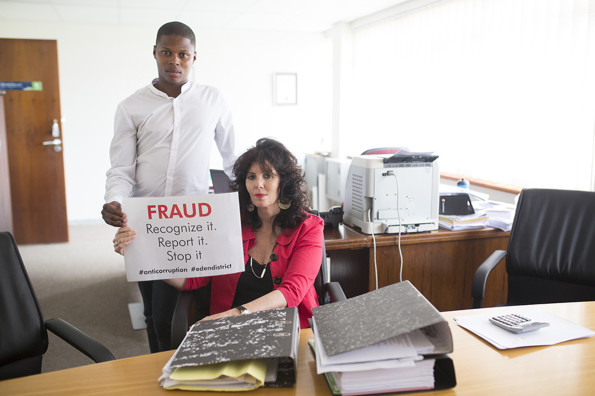 Trix Holtzhausen (Executive Manager, Corporate/Strategic Services) and Bandile Mbalo (HR Intern)