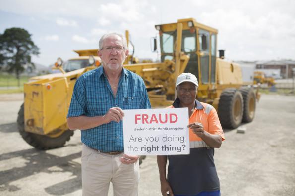 Hans Ottervanger (Senior Manager, Roads Services) and Klaas Jafta (Senior Worker, Roads Services)