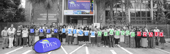 Eden employees congregate in front of the Head Office to unite against corruption and fraud