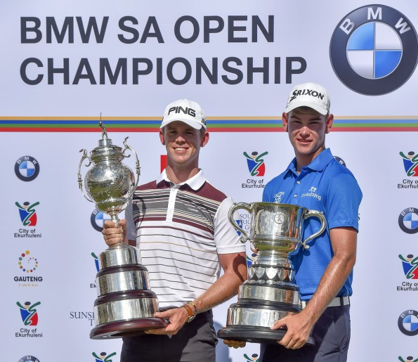 Seventeen-year-old Cameron Moralee - winner of the Freddie Tait Cup as the leading amateur – with champion Brandon Stone at the 2016 BWM SA Open Championship, proudly hosted by the City of Ekurhuleni; credit Chris Kotze / SASPA
