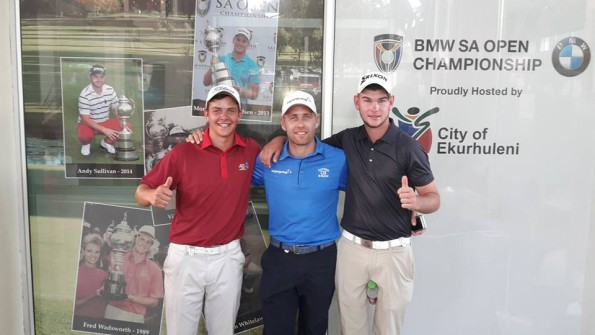 Qualifiers Herman Loubser (left) and Cameron Moralee with Africa Open champion Trevor Fisher Jnr at Glendower Golf Club ahead of the BMW SA Open Championship, proudly hosted by Ekurhuleni; credit SAGA