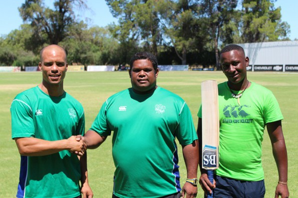Newly appointed SWD captain, Erinn Ewets (left) is congratulated by coach, André du Plessis. On the right is Sithembiso Ndwandwa who will make his debut for SWD