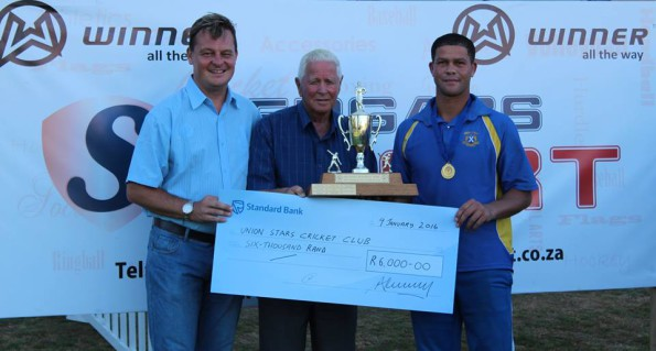 Present at the handing-over of the SWD Twenty/20 Trophy to Union Stars were Albertus Kennedy (Chief Executive Officer SWD Cricket), Simon Swigelaar (Honorary Life President) and Pieter Stuurman (captain of Union Stars)
