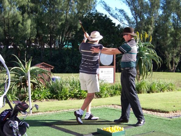 Respected PGA of South Africa professional John Dickson giving a lesson. Credit: PGA of South Africa