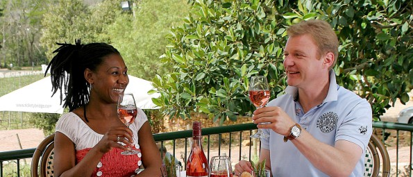 Guests enjoying Rosé at Rickety Bridge Estate