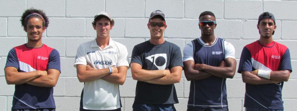 In relaxed mood before the start of the Varsity Cricket tournament on Monday are Mecer NMMU-Madibaz cricketers, from left, Curtis Samboer, Kevin Carrol, Lloyd Brown (C), Solo Nqweni and Junaid Dawood. Photo: Supplied