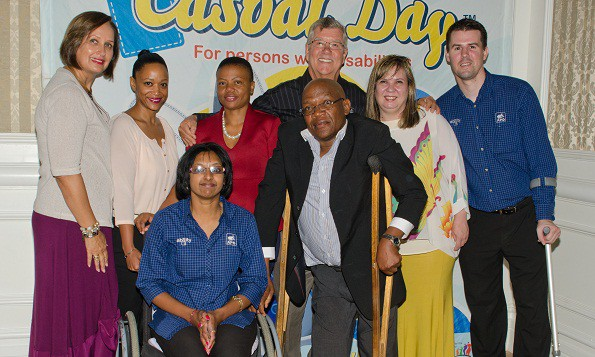 Top L to R: Faheema Granville, Casual Day office manager, Ralese Adriaanse of Edcon, Ntsoaki Tsosi, Casual Day team member, Brian Bezuidenhout, director of the Association for Persons with Disabilities Nelson Mandela Bay (APD NMB) and Brett Marshall, fundraising manager for APD NMB. Bottom: L to R: Koomathie Nair, Casual Day co-ordinator at APD NMB, Zett Gqweta, chairman of the Association for Persons with Disabilities in the Eastern Cape and Vanessa du Plessis, Casual Day project leader