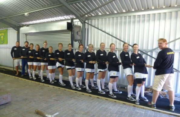 In the picture, from left to right are: Anton Botha (vice-chairman of SATF), Charlie Solms, team manager, Samantha Wilmot, Steffi Shepherd, Ane Ras, Nadine Stoop, Janke de Wet, Rene Ras, Rene Groenewald, Melanie Smith, Yolandi Venter, Claudia Rix, Kittie Terblanche (vice-captain) and Leonell Steyn (captain), and Anton Gerber (coach). Picture courtesy of Lesley Carstens