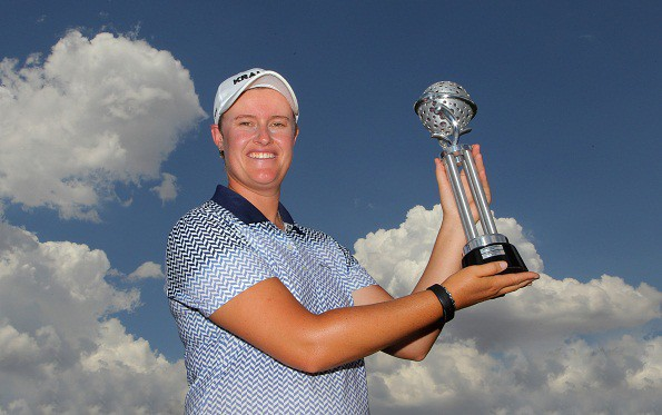 Monique Smit with the trophy during day 3 of the Ladies Tshwane Open at Zwartkop Country Club on February 04, 2016 in Pretoria, South Africa. EDITOR'S NOTE: For free editorial use. Not available for sale. No commercial usage. (Photo by Petri Oeschger/Sunshine Tour/Gallo Images)